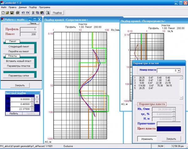 GeoModel - программа интерпретации кривых ВЭЗ-ВП